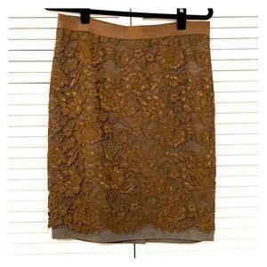 Ann Taylor Loft Lacey Olive Green Skirt